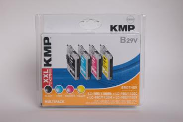 KMP Multipack B29V kompatibel Brother LC-980/LC-1100 - 4er Pack geblistert